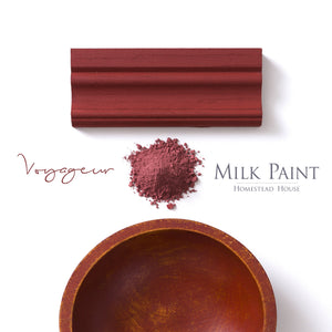 Milk Paint from Homestead House in Voyageur, deep red with a rusty brick colour hue.  |  homesteadhouse.ca