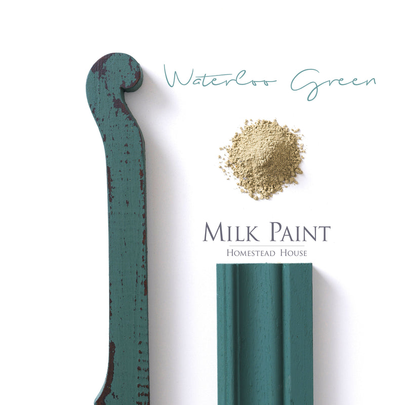 Milk Paint from Homestead House in Waterloo Green - A muted emerald green that has depth. | homesteadhouse.ca