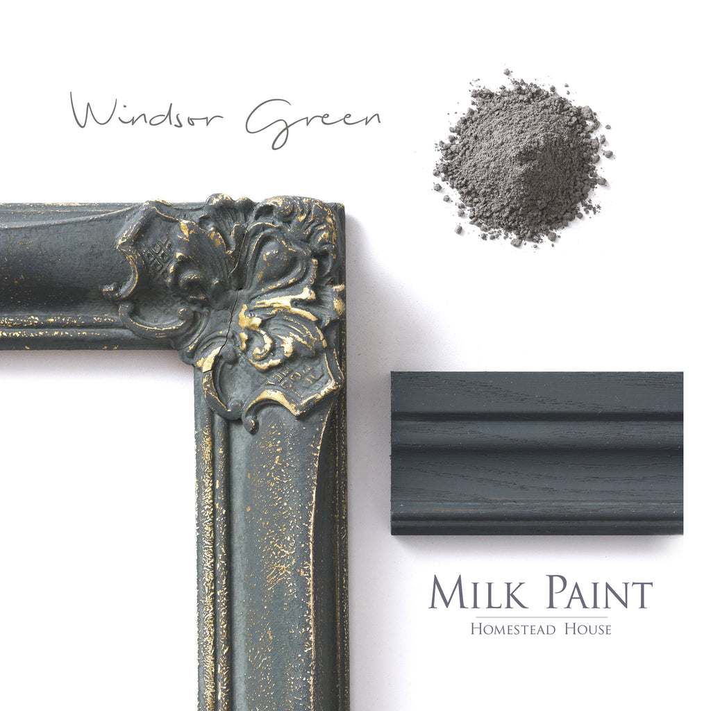 Milk Paint from Homestead House in Windsor Green -This deep green has grey undertones. | homesteadhouse.ca
