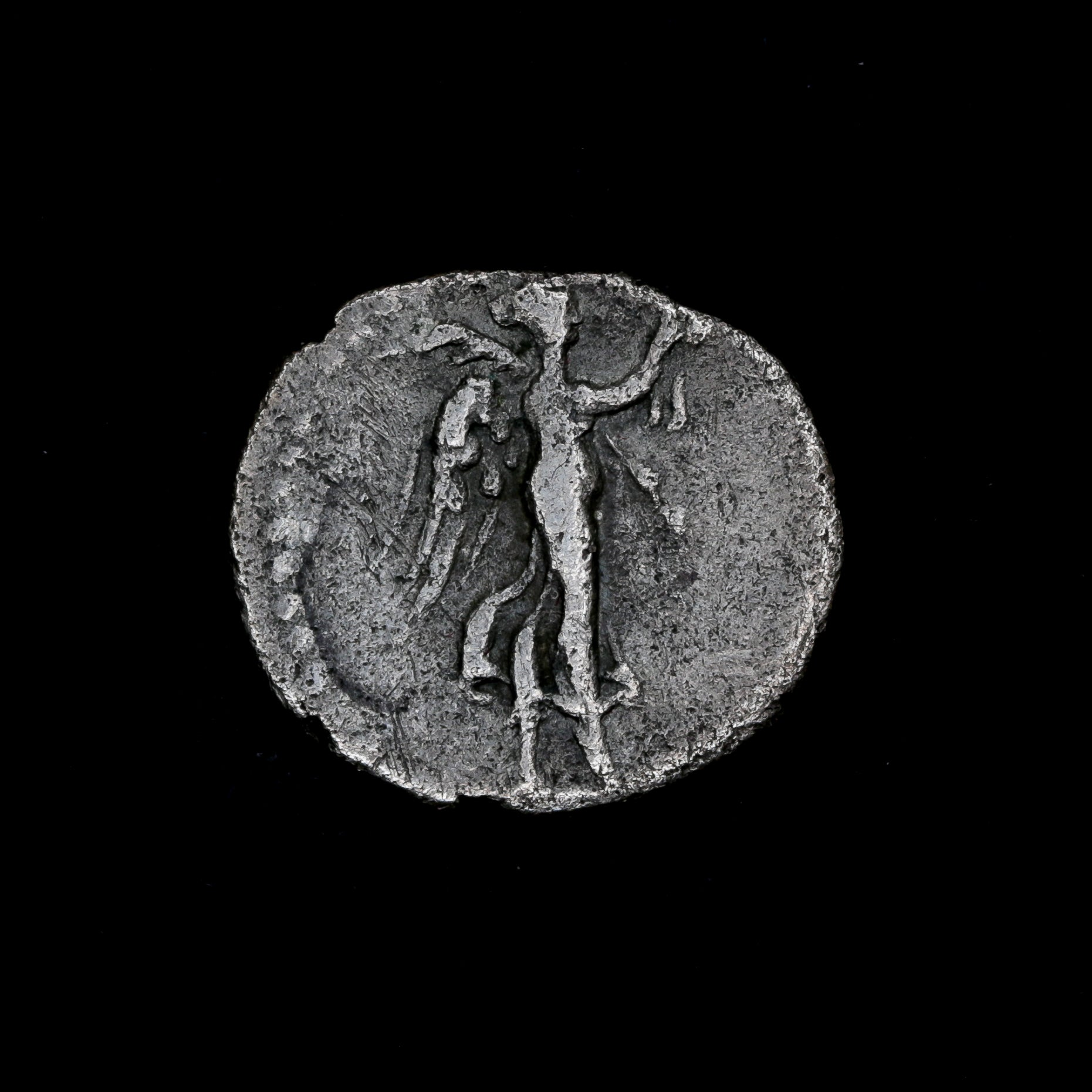 A Roman Empire Silver Coin | AR hemidrachm Vespasianus | Caesaraea 69-79 A.D.  Nike walking right