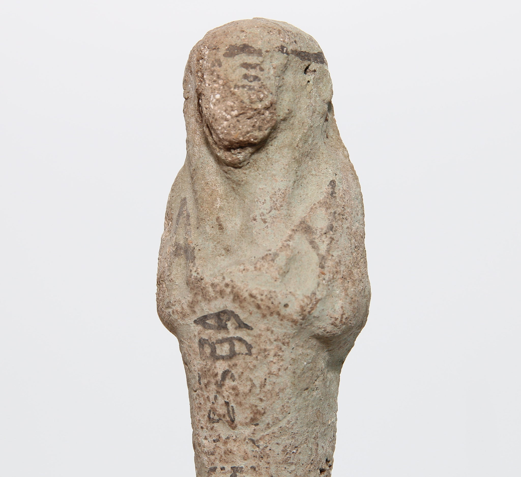 A pottery shabti figure with painted inscription | Egypt, Third Intermediate Period, 1050-730 BC