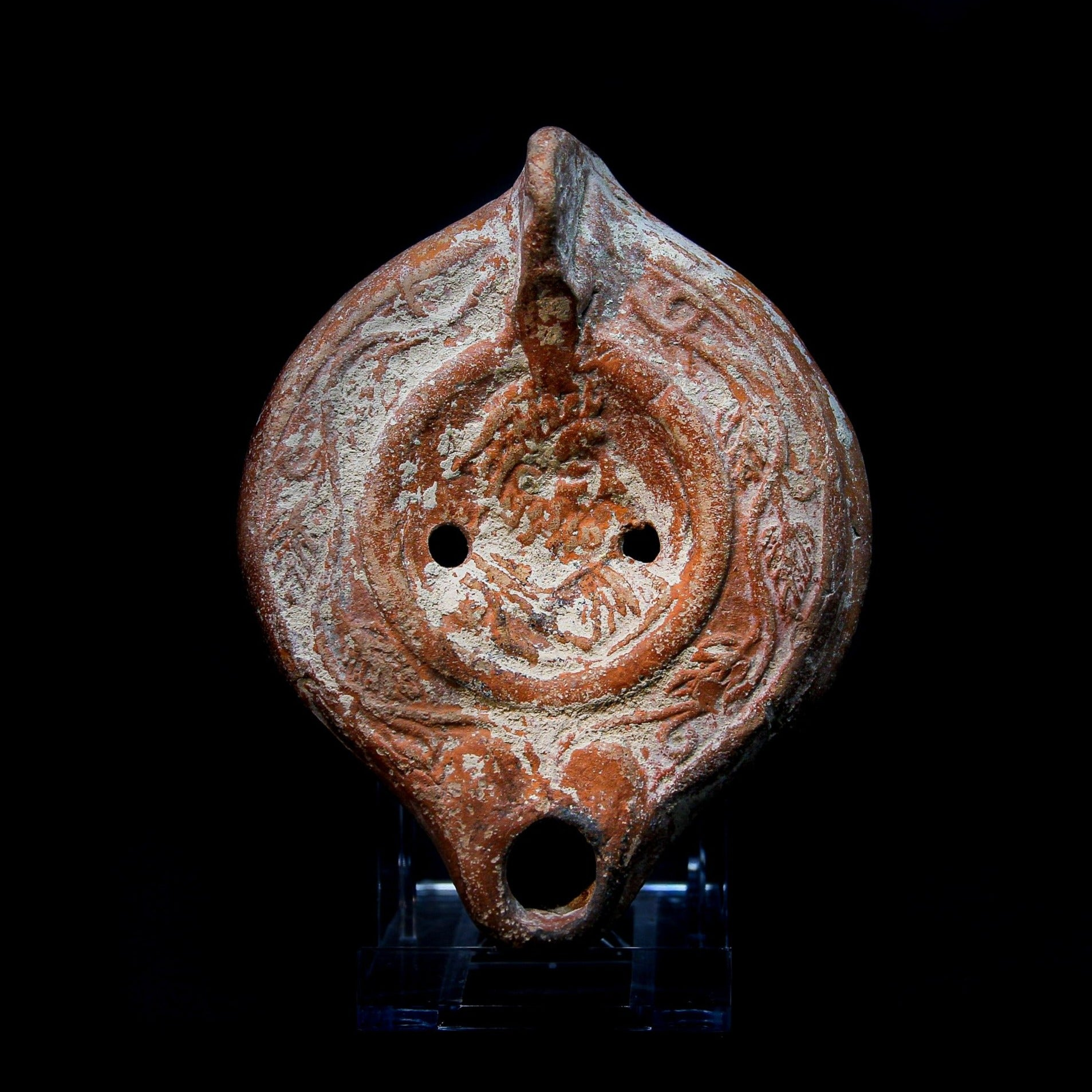 A Roman Terracotta Oil Lamp with Bust | Circa 1st-3rd Century AD