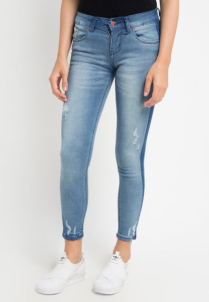 Washed Panel Skinny Jeans