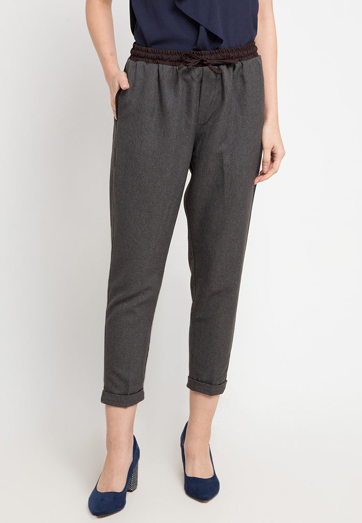 Contrast Straight Pants
