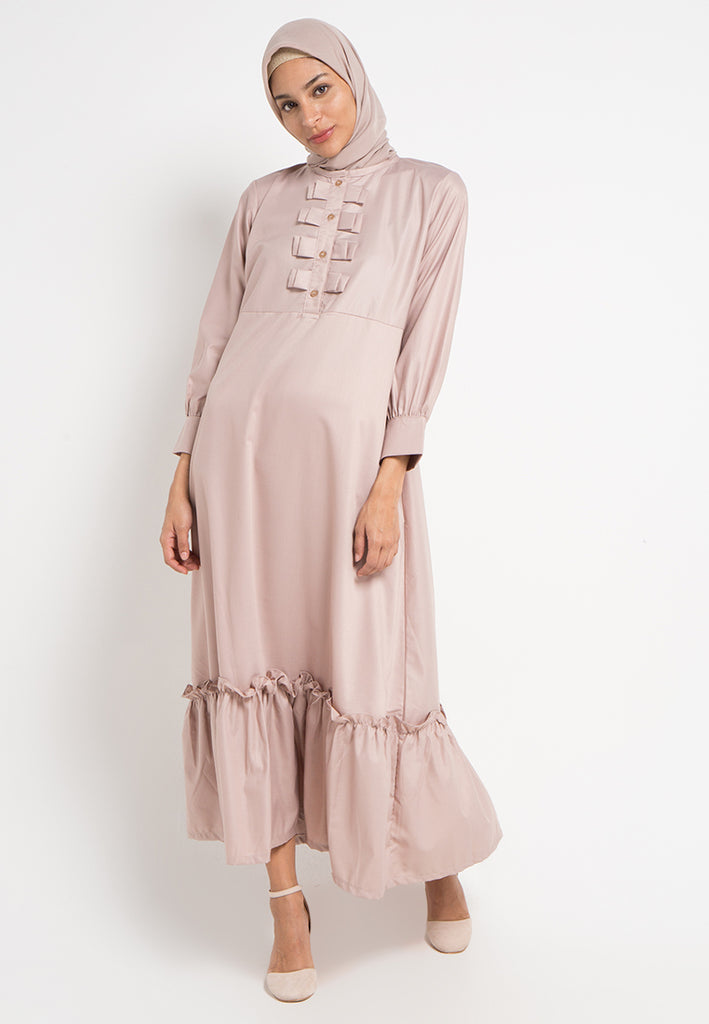 Bow Button Gamis Dress, Gamis, Meitavi's