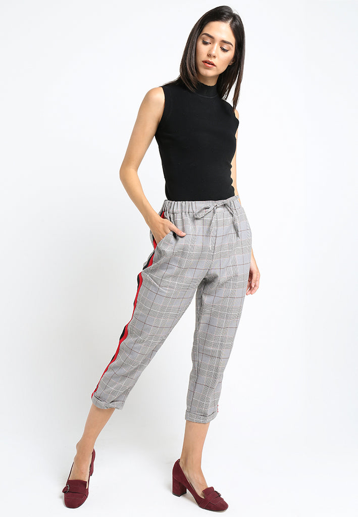 Checker Side Striped Pants, Pants, Meitavi's