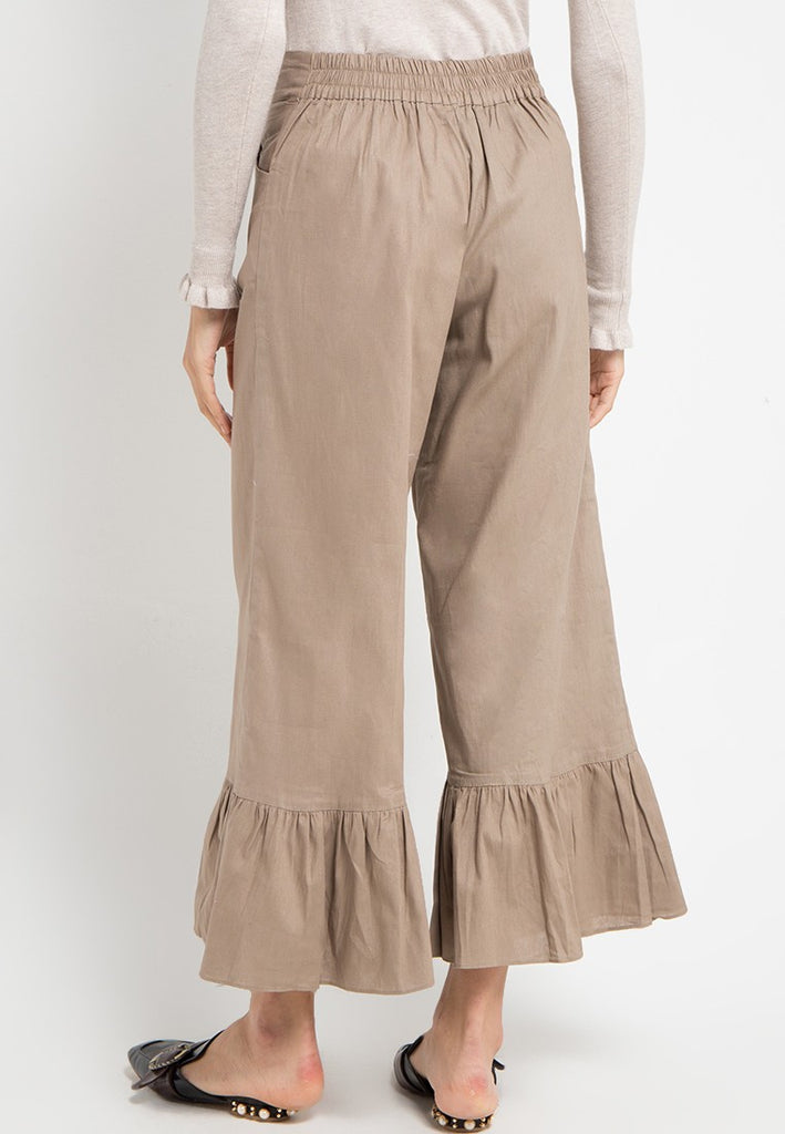 Pleats Bottom Linen Maxi Pants, Pants, Meitavi's