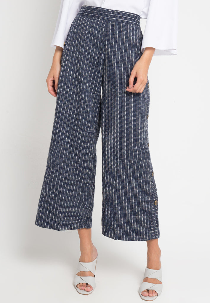 Patterned Lined Buttons Culottes, Pants, Meitavi's