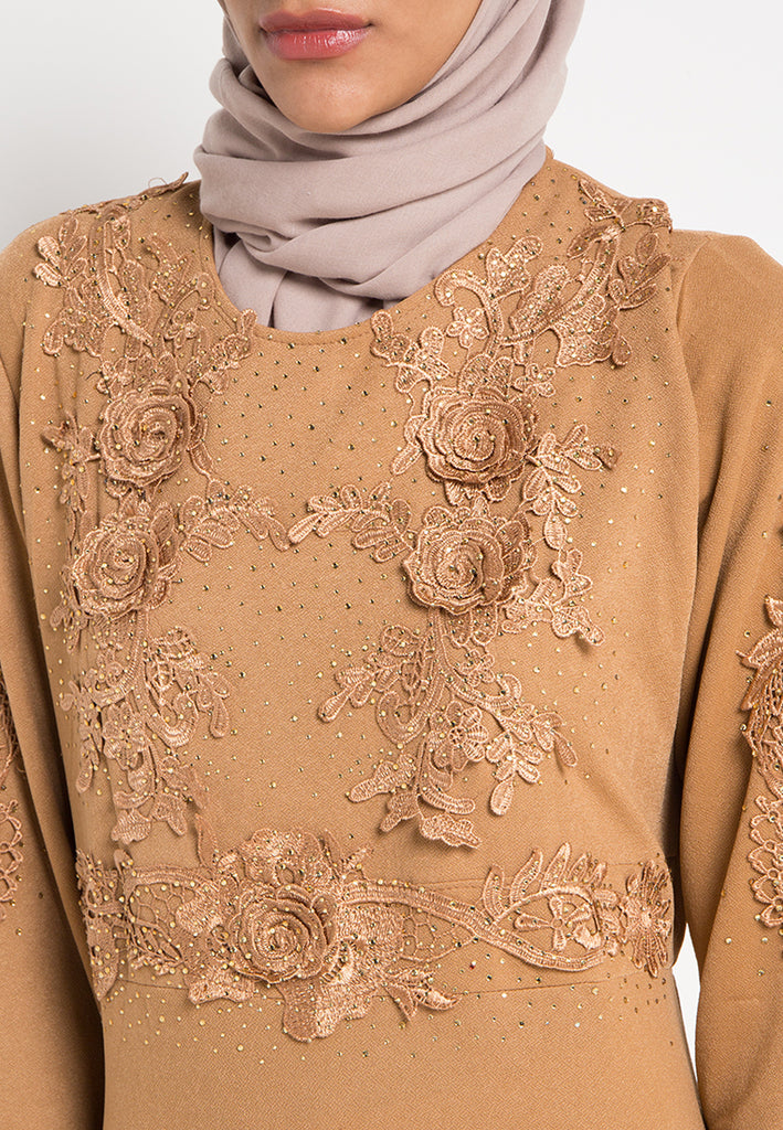 Rose Brocade Gamis Dress, Gamis, Meitavi's