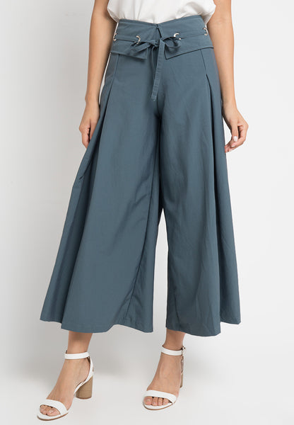 Eyelet Collared Maxi Culottes, Pants, Meitavi's