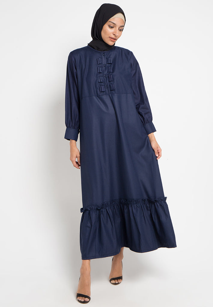 Bow Button Gamis Dress