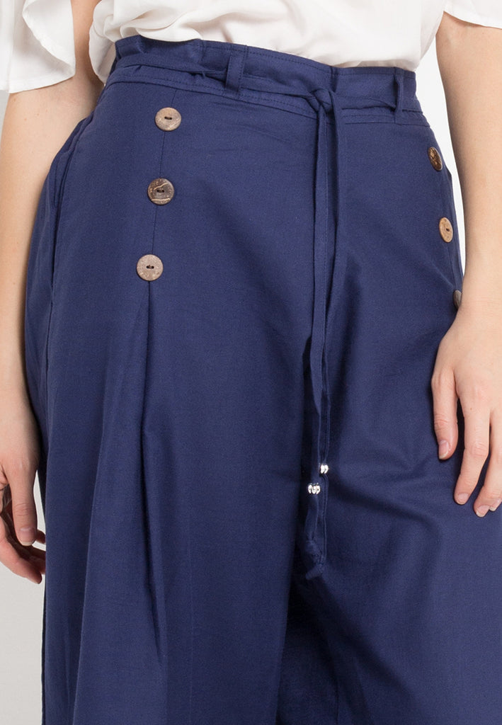 Buttoned Flared Maxi Culottes
