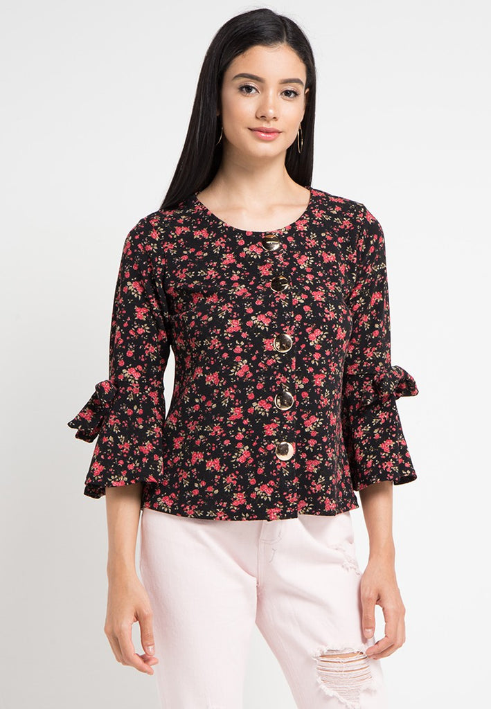 Floral Trumpet Sleeved Blouse