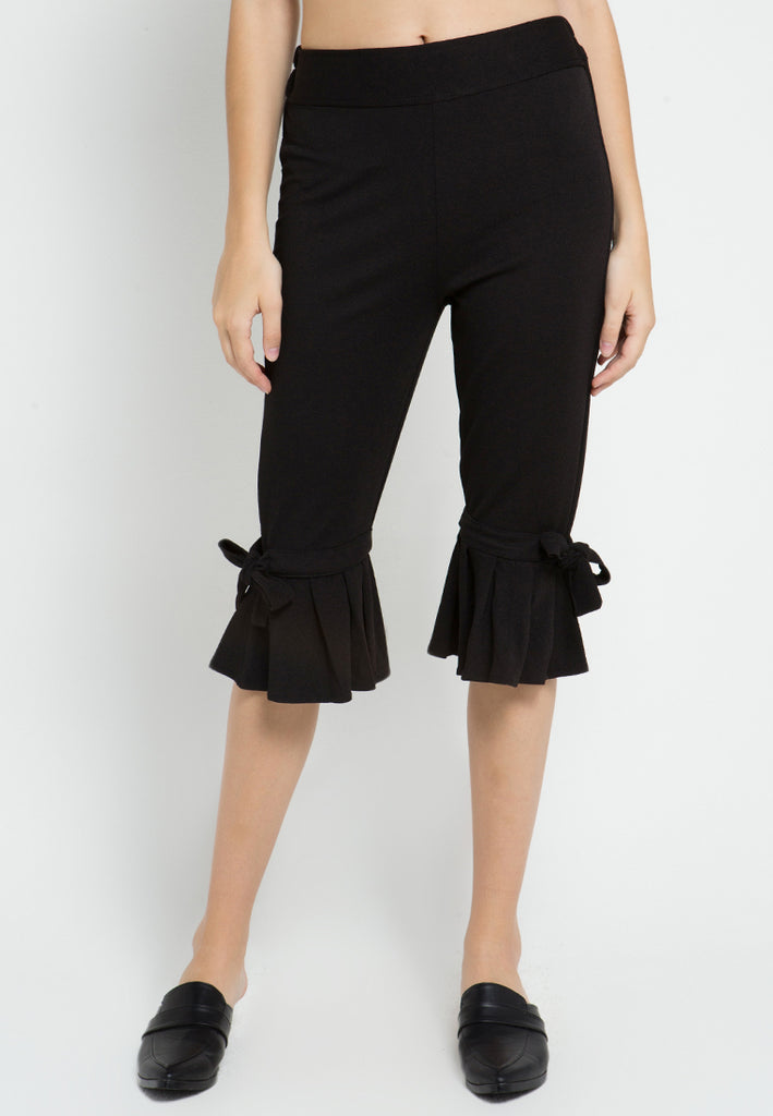Bow Pleated Midi Pants, Pants, Meitavi's