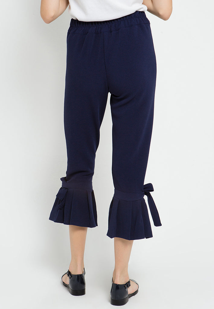 Bow Pleated Cropped Pants