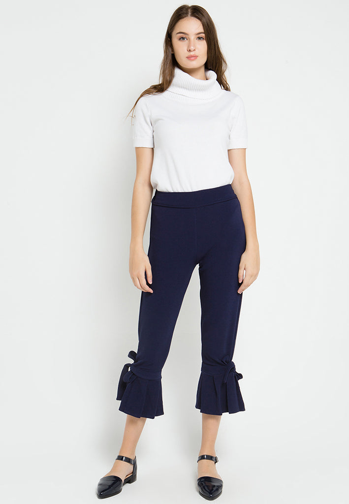 Bow Pleated Cropped Pants, Pants, Meitavi's