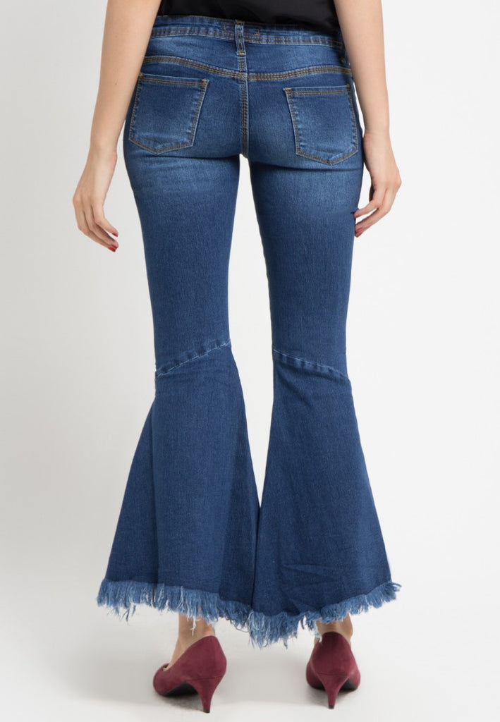 Trumpet Trim Bottom Denim Jeans, Denim, Meitavi's