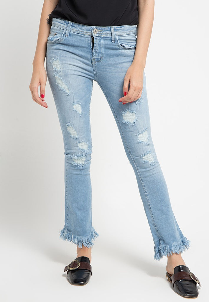 Destroyed Trim Bottom Denim Jeans, Denim, Meitavi's