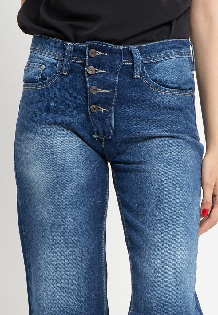Destroyed Boot Cut Boyfriend Jeans, Denim, Meitavi's