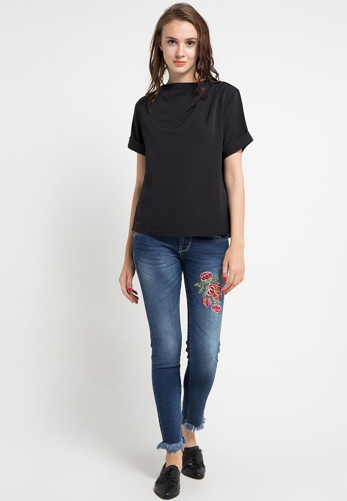 Embroided Trim Bottom Denim Jeans, Denim, Meitavi's