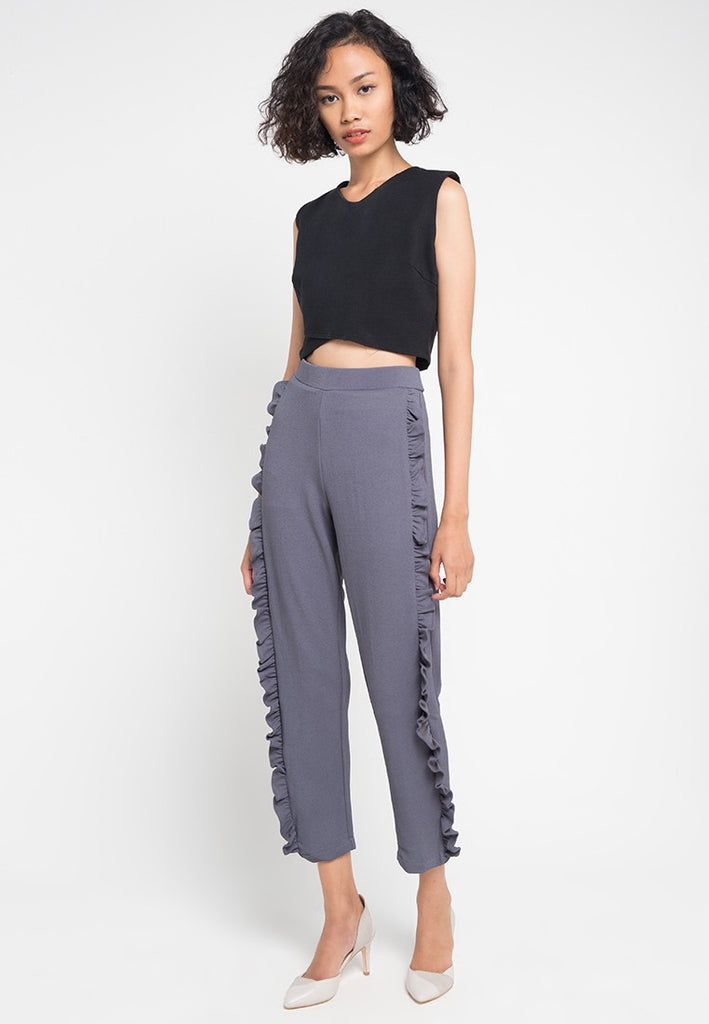 Side Ruffled Long Pants, Pants, Meitavi's