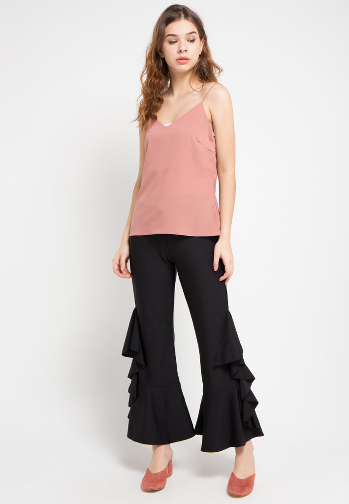 Side Ruffled Flared Pants, Pants, Meitavi's