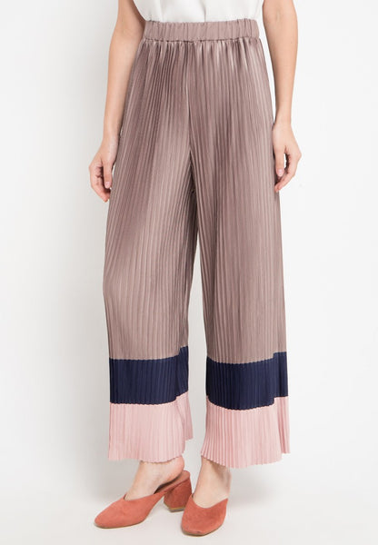 Colorblock Pleated Maxi Culottes, Pants, Meitavi's