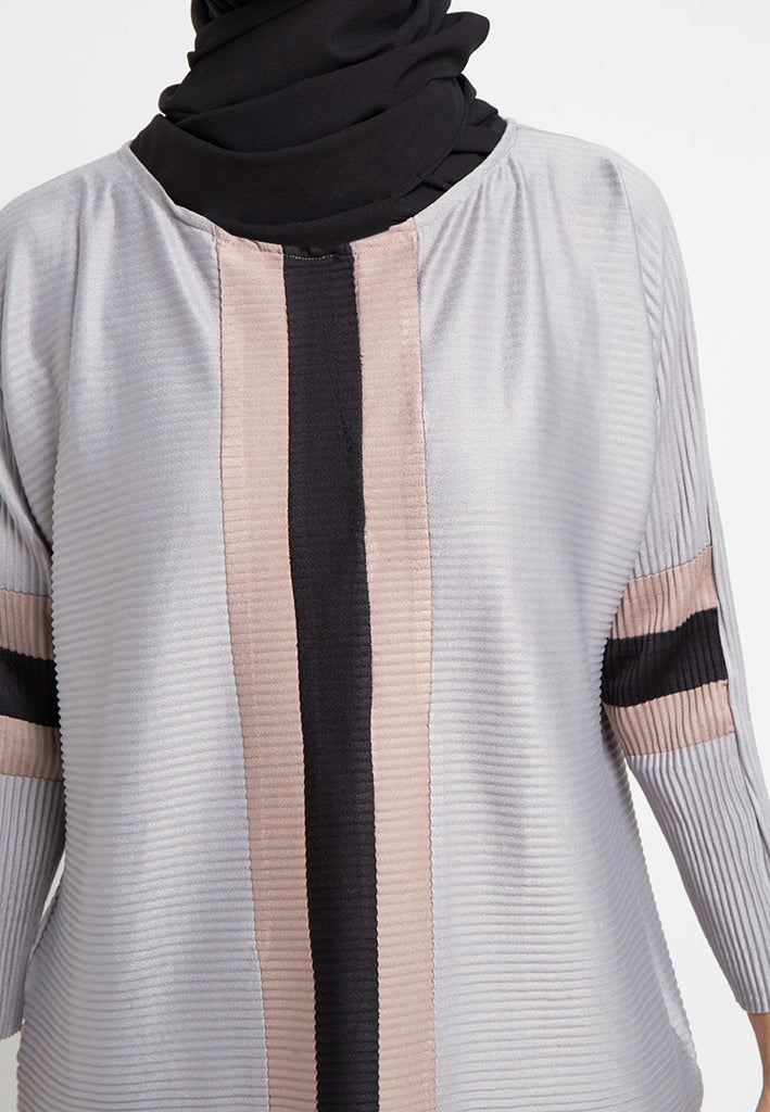 Colorblock Pleated Blouse, Blouse, Meitavi's