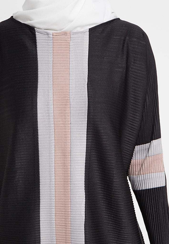 Colorblock Pleated Blouse