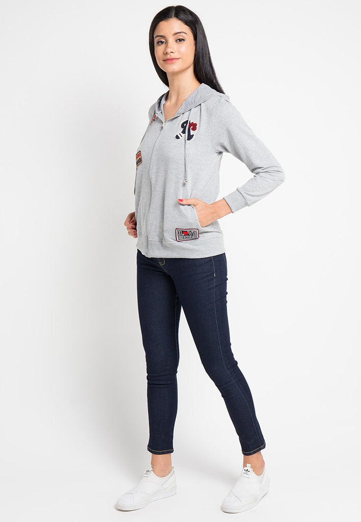 Applique Zip Up Hoodie Jacket