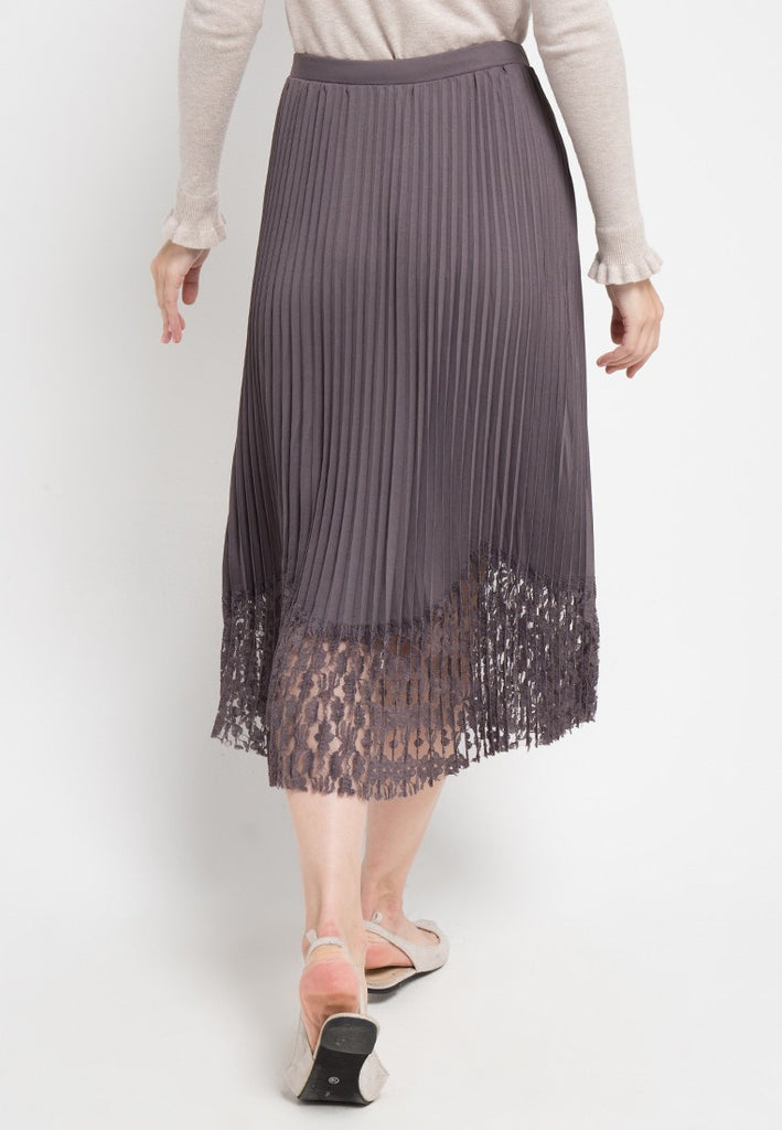 Lace Trim Plisket Midi Skirt