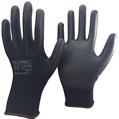 Palm Coated PU Gloves - Black