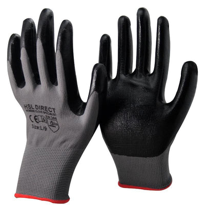 Palm Coated Nitrile Gloves - Black/Grey