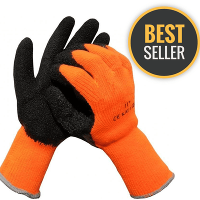 Thermal Latex Gripper Gloves - Orange/Black