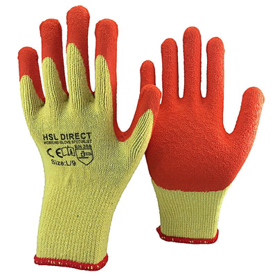 Palm Coated Latex Gripper Gloves - Yellow/Orange