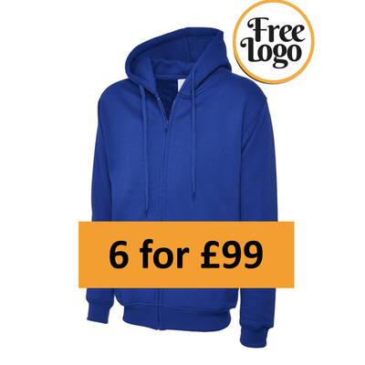 6 for £99 Full Zip Hooded Sweatshirt Bundle Deal