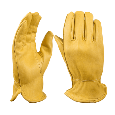 Premium Leather Work Gloves - Yellow