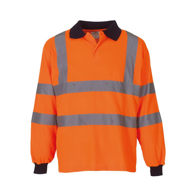 Men's High Vis Long Sleeve Work Polo Shirt