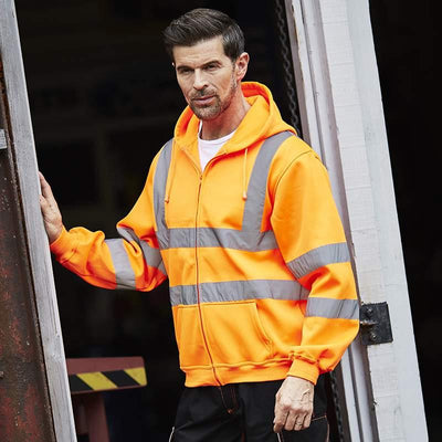 Men's Hi Visibility Zipped Hooded Sweatshirt