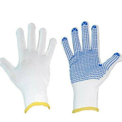 PVC Polka Dotted Gloves - White/Blue