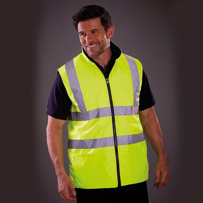 Men's High Vis Reversible Fleece Work Bodywarmer
