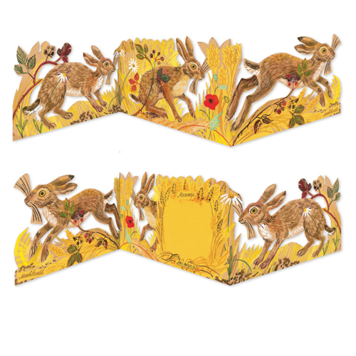 3D Hares Greeting Card