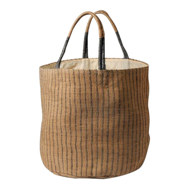 Grey And Natural Hand Woven Jute Bag