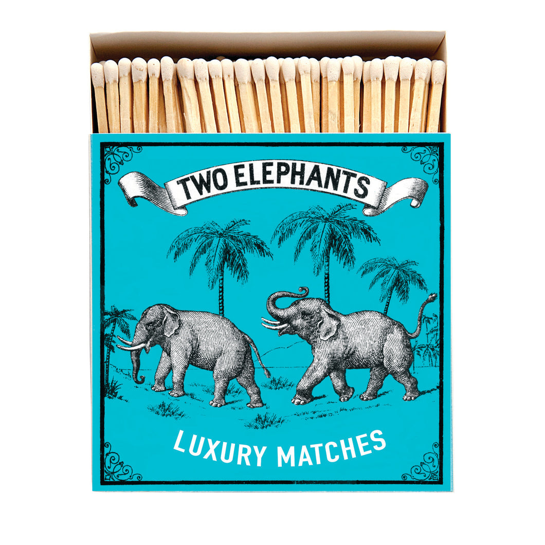Luxury Matches - Two Elephants on Blue