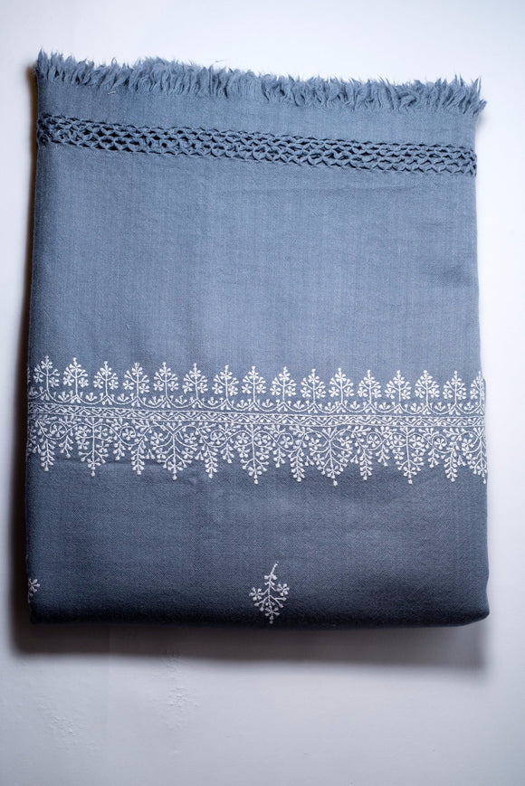 Blue Embroidered Wool Throw
