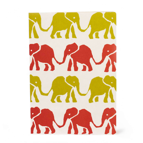 Elephants, Red and Yellow, Greetings Card