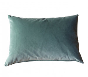 Rectangle Sea Blue Velvet Cushion
