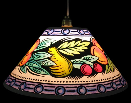 Hand Painted Fruit & Leaves Lampshade