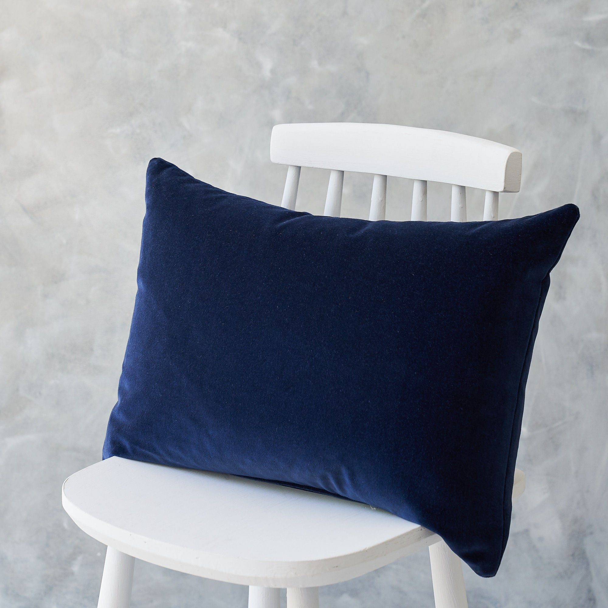 Long Navy Velvet Cushion