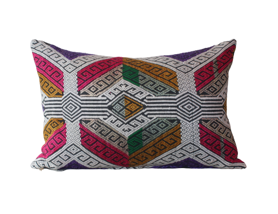 Vietnamese Aztec Weave Embroidered Cushion
